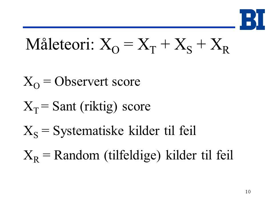 10 Måleteori: X O = X T + X S + X R X O = Observert score X T = Sant (riktig) score X S = Systematiske kilder til feil X R = Random (tilfeldige) kilder til feil