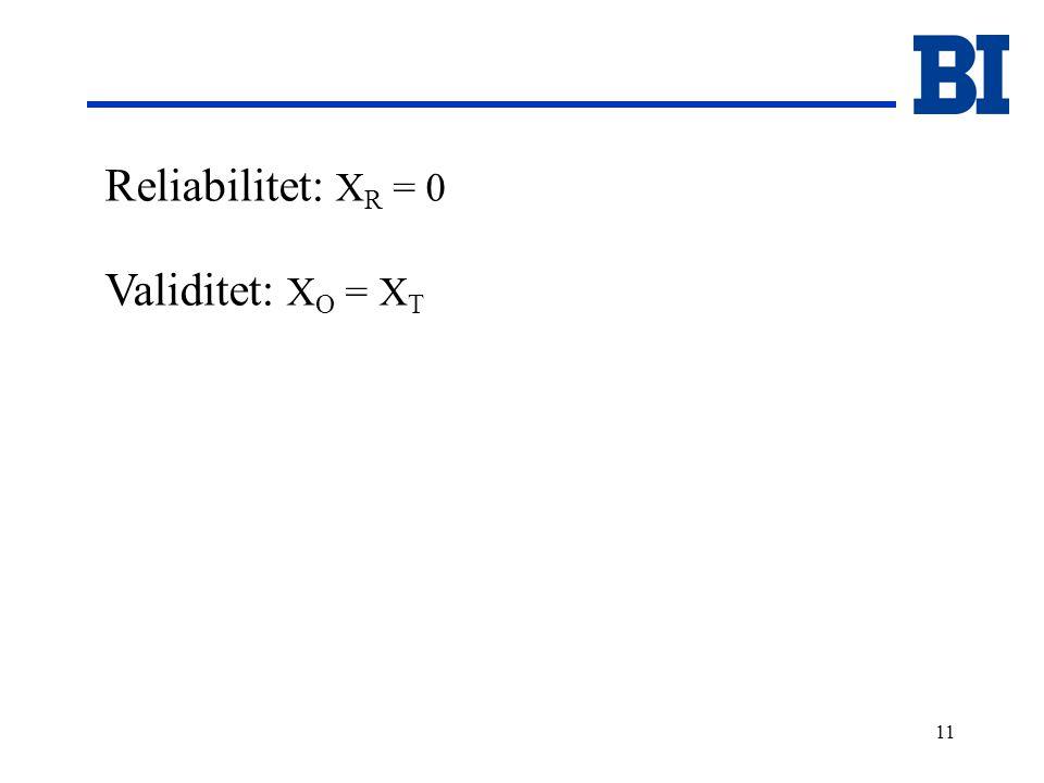 11 Reliabilitet: X R = 0 Validitet: X O = X T