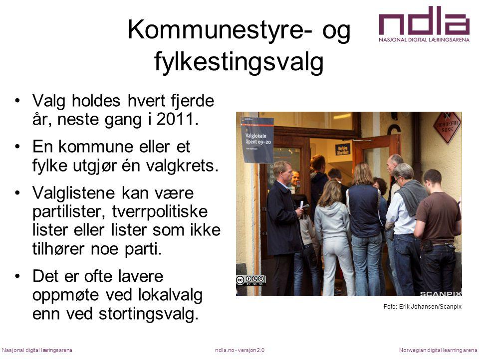 ndla.no - versjon 2.0Nasjonal digital læringsarenaNorwegian digital learning arena Kommunestyre- og fylkestingsvalg Valg holdes hvert fjerde år, neste