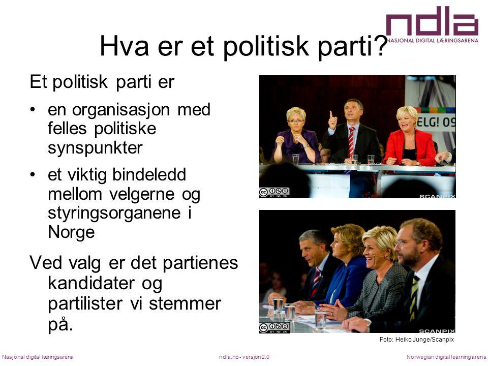 ndla.no - versjon 2.0Nasjonal digital læringsarenaNorwegian digital learning arena Hva er et politisk parti? Et politisk parti er en organisasjon med