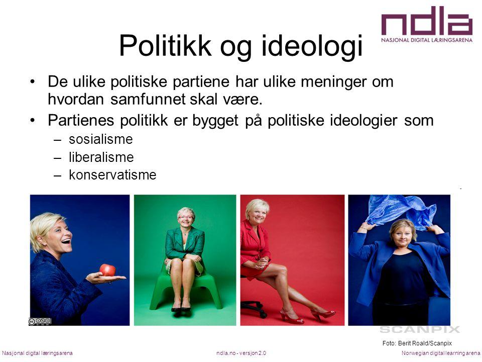 ndla.no - versjon 2.0Nasjonal digital læringsarenaNorwegian digital learning arena Politikk og ideologi De ulike politiske partiene har ulike meninger