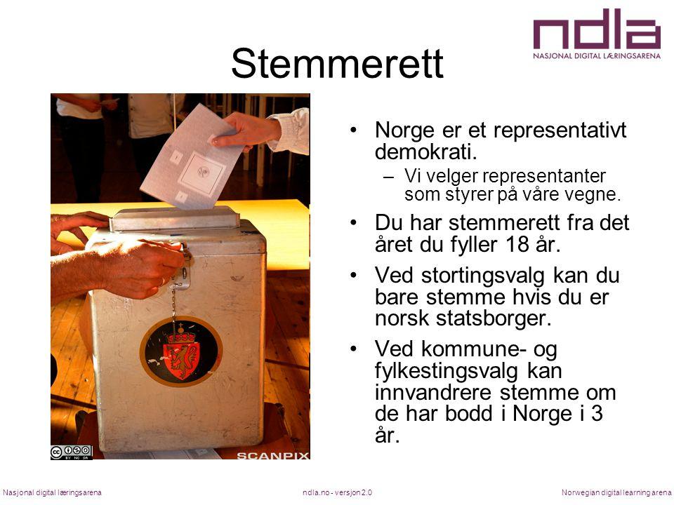 ndla.no - versjon 2.0Nasjonal digital læringsarenaNorwegian digital learning arena Stemmerett Norge er et representativt demokrati. –Vi velger represe