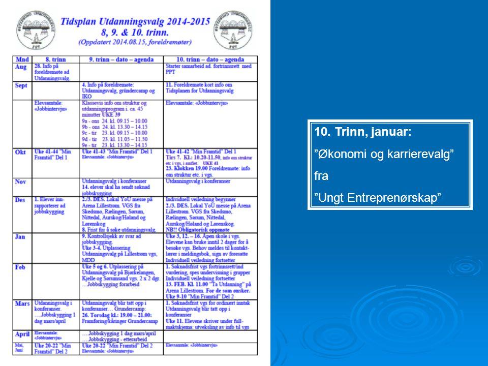 """10. Trinn, januar: """"Økonomi og karrierevalg"""" fra """"Ungt Entreprenørskap"""""""