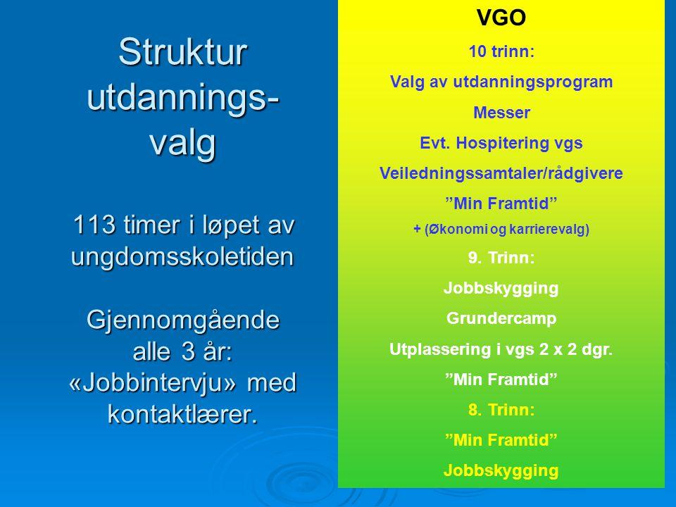 Struktur utdannings- valg 113 timer i løpet av ungdomsskoletiden Gjennomgående alle 3 år: «Jobbintervju» med kontaktlærer. VGO 10 trinn: Valg av utdan