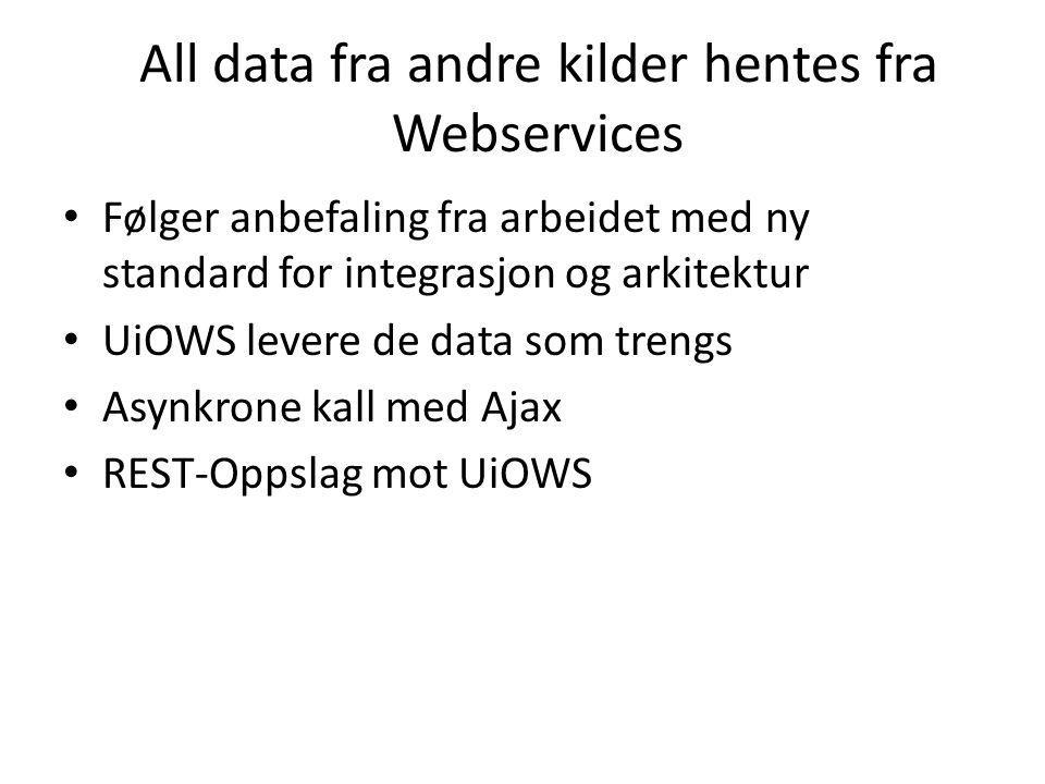 All data fra andre kilder hentes fra Webservices Følger anbefaling fra arbeidet med ny standard for integrasjon og arkitektur UiOWS levere de data som trengs Asynkrone kall med Ajax REST-Oppslag mot UiOWS