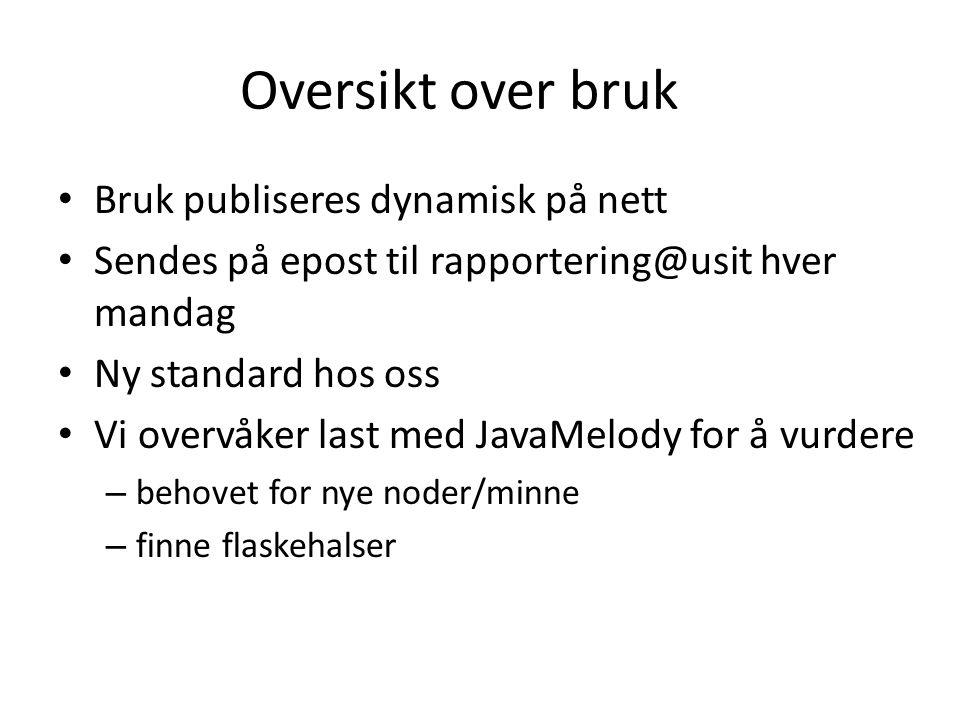 Oversikt over bruk Bruk publiseres dynamisk på nett Sendes på epost til rapportering@usit hver mandag Ny standard hos oss Vi overvåker last med JavaMe