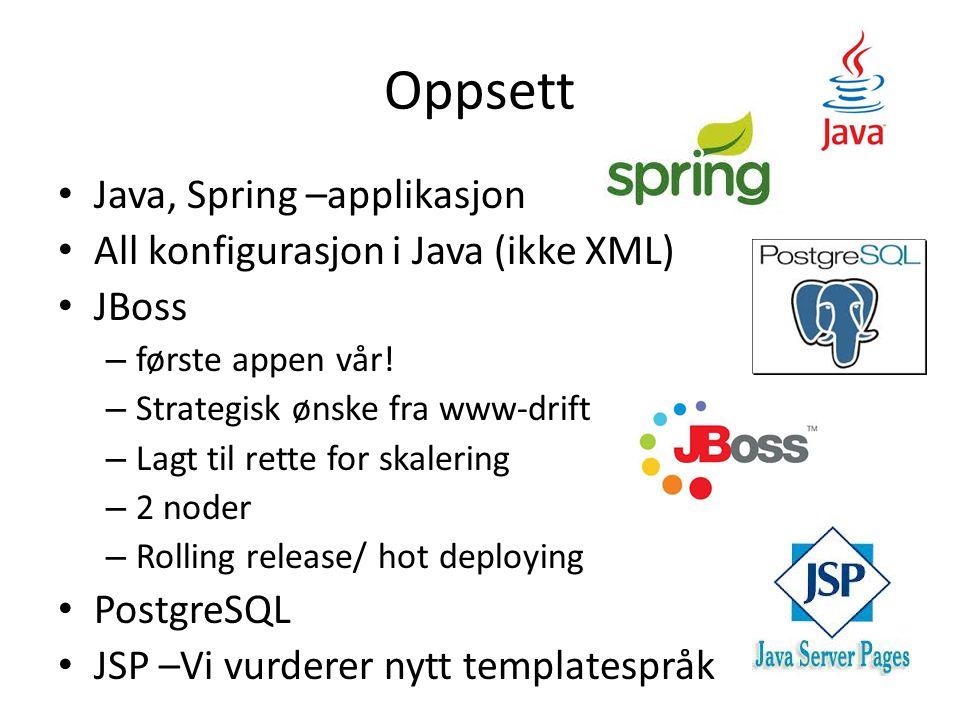 Oppsett Java, Spring –applikasjon All konfigurasjon i Java (ikke XML) JBoss – første appen vår! – Strategisk ønske fra www-drift – Lagt til rette for