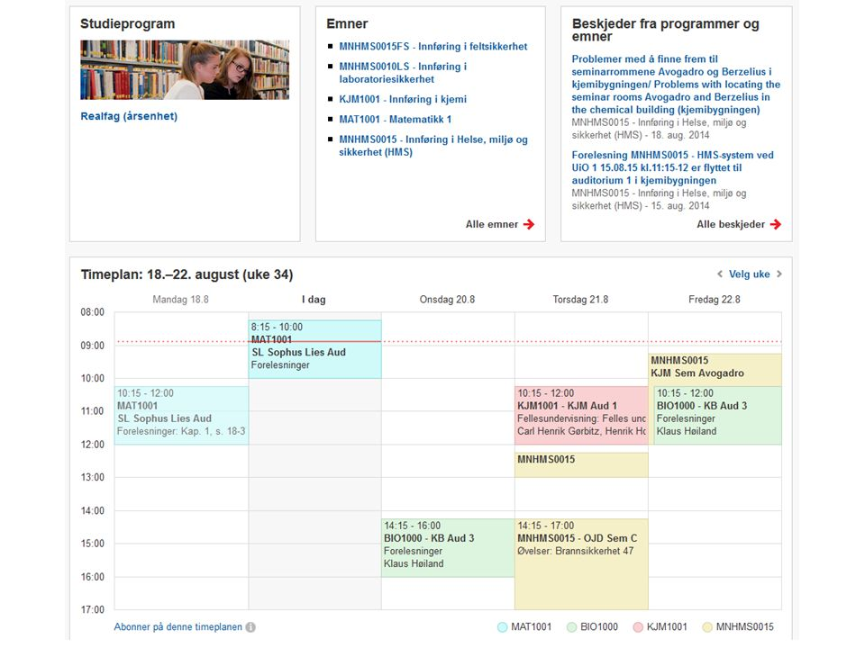 Abonnering på kalender Ved innlogging lager vi URL med 8-tegns token til alle brukere – webcal://minestudier.uio.no/nb/calendar/51o7jmf6/ schedule.ics webcal://minestudier.uio.no/nb/calendar/51o7jmf6/ schedule.ics – http://www.google.com/calendar/render?cid=http:// minestudier.uio.no/nb/calendar/51o7jmf6/schedule.i cs http://www.google.com/calendar/render?cid=http:// minestudier.uio.no/nb/calendar/51o7jmf6/schedule.i cs Ligger åpen på nett, men uten personinfo