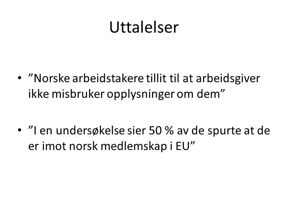 Uttalelser Norske arbeidstakere tillit til at arbeidsgiver ikke misbruker opplysninger om dem I en undersøkelse sier 50 % av de spurte at de er imot norsk medlemskap i EU