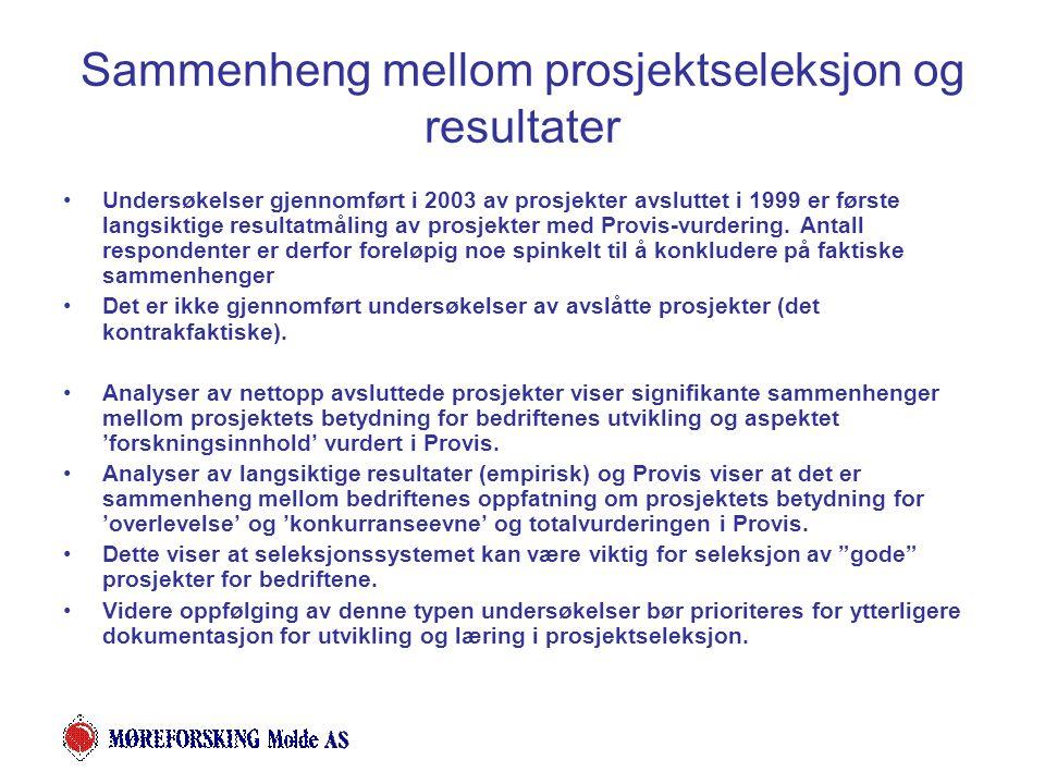 Sammenheng mellom prosjektseleksjon og resultater Undersøkelser gjennomført i 2003 av prosjekter avsluttet i 1999 er første langsiktige resultatmåling av prosjekter med Provis-vurdering.