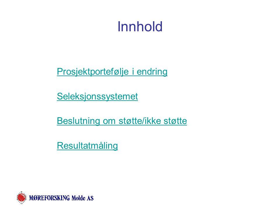 Innhold Prosjektportefølje i endring Seleksjonssystemet Beslutning om støtte/ikke støtte Resultatmåling