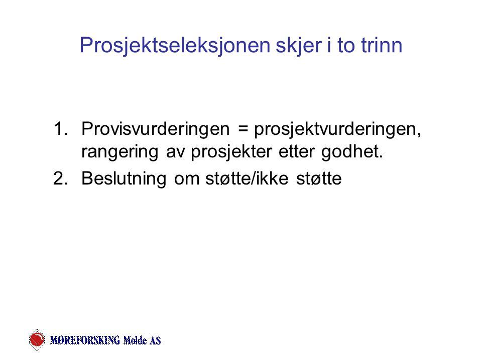 Prosjektseleksjonen skjer i to trinn 1.Provisvurderingen = prosjektvurderingen, rangering av prosjekter etter godhet.