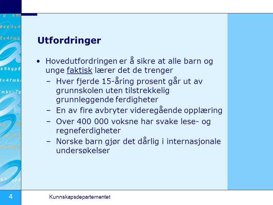 15 Kunnskapsdepartementet Grunnopplæringen Vente og se .