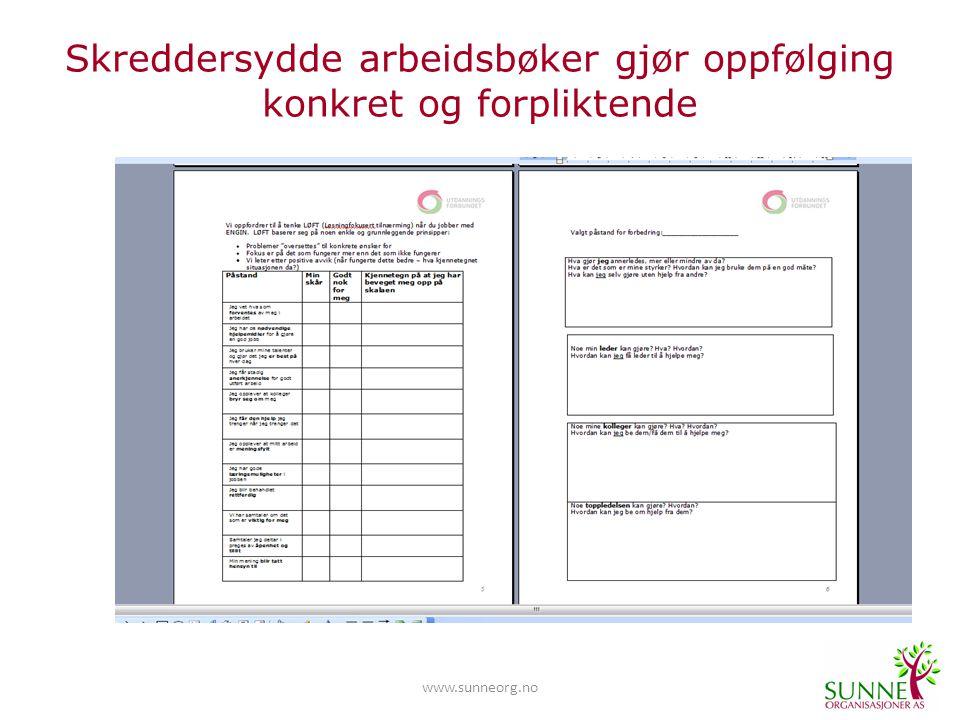 www.sunneorg.no Skreddersydde arbeidsbøker gjør oppfølging konkret og forpliktende