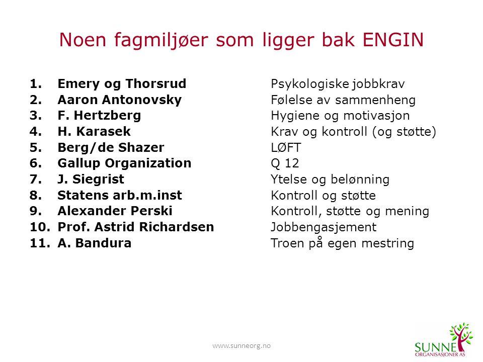 www.sunneorg.no Noen fagmiljøer som ligger bak ENGIN 1.Emery og Thorsrud Psykologiske jobbkrav 2.Aaron Antonovsky Følelse av sammenheng 3.F.
