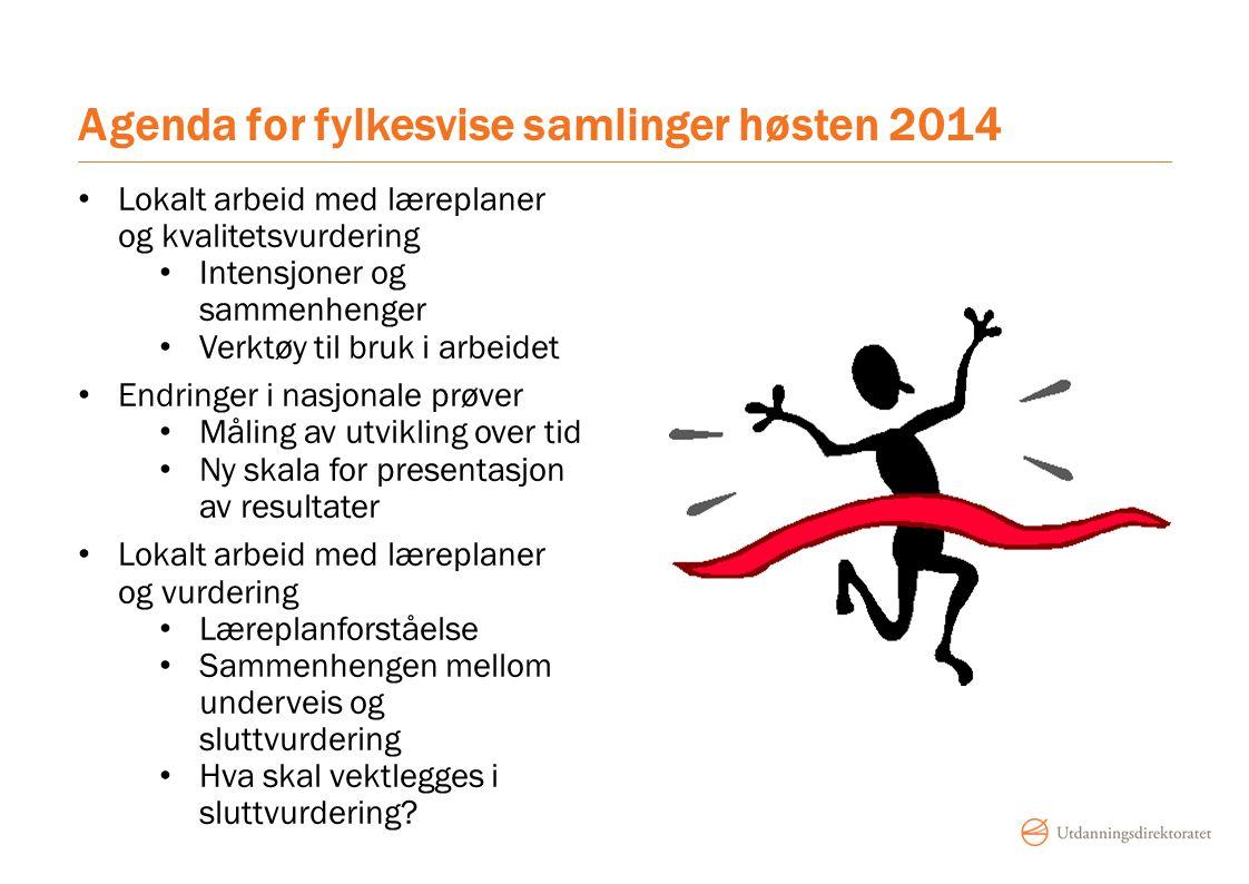 Agenda for fylkesvise samlinger høsten 2014 Lokalt arbeid med læreplaner og kvalitetsvurdering Intensjoner og sammenhenger Verktøy til bruk i arbeidet