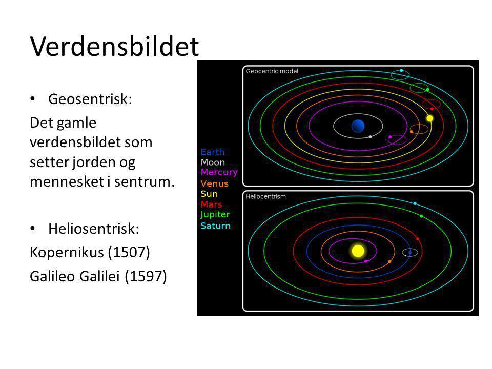 Verdensbildet Geosentrisk: Det gamle verdensbildet som setter jorden og mennesket i sentrum. Heliosentrisk: Kopernikus (1507) Galileo Galilei (1597)
