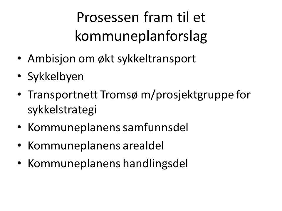 Prosessen fram til et kommuneplanforslag Ambisjon om økt sykkeltransport Sykkelbyen Transportnett Tromsø m/prosjektgruppe for sykkelstrategi Kommuneplanens samfunnsdel Kommuneplanens arealdel Kommuneplanens handlingsdel