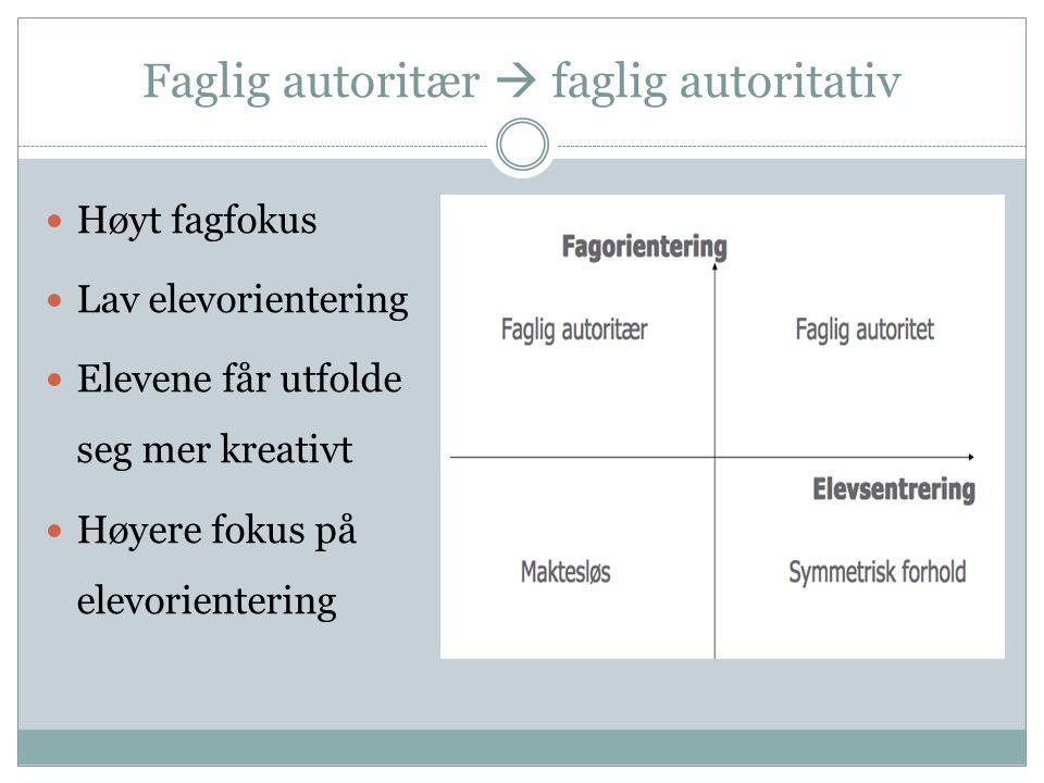 Faglig autoritær  faglig autoritativ Høyt fagfokus Lav elevorientering Elevene får utfolde seg mer kreativt Høyere fokus på elevorientering