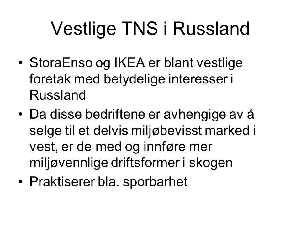 Vestlige TNS i Russland StoraEnso og IKEA er blant vestlige foretak med betydelige interesser i Russland Da disse bedriftene er avhengige av å selge til et delvis miljøbevisst marked i vest, er de med og innføre mer miljøvennlige driftsformer i skogen Praktiserer bla.
