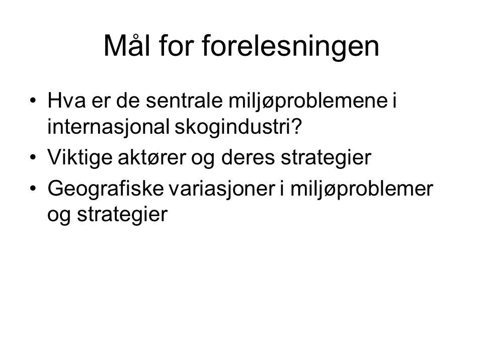 Mål for forelesningen Hva er de sentrale miljøproblemene i internasjonal skogindustri.