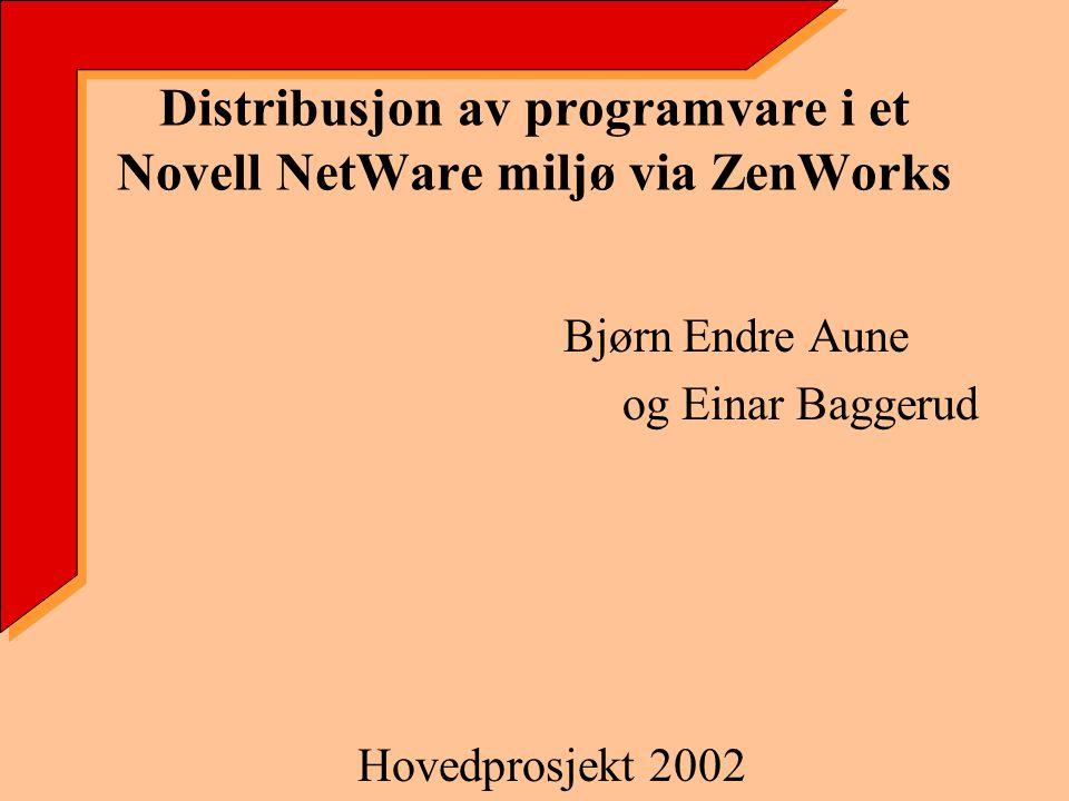 Distribusjon av programvare i et Novell NetWare miljø via ZenWorks Bjørn Endre Aune og Einar Baggerud Hovedprosjekt 2002