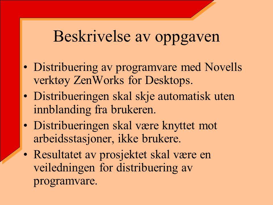 Beskrivelse av oppgaven Distribuering av programvare med Novells verktøy ZenWorks for Desktops.