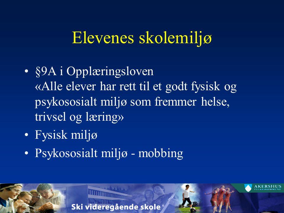 Elevenes skolemiljø §9A i Opplæringsloven «Alle elever har rett til et godt fysisk og psykososialt miljø som fremmer helse, trivsel og læring» Fysisk miljø Psykososialt miljø - mobbing