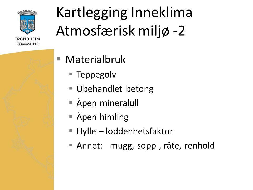 Kartlegging Inneklima Atmosfærisk miljø -2  Materialbruk  Teppegolv  Ubehandlet betong  Åpen mineralull  Åpen himling  Hylle – loddenhetsfaktor  Annet: mugg, sopp, råte, renhold