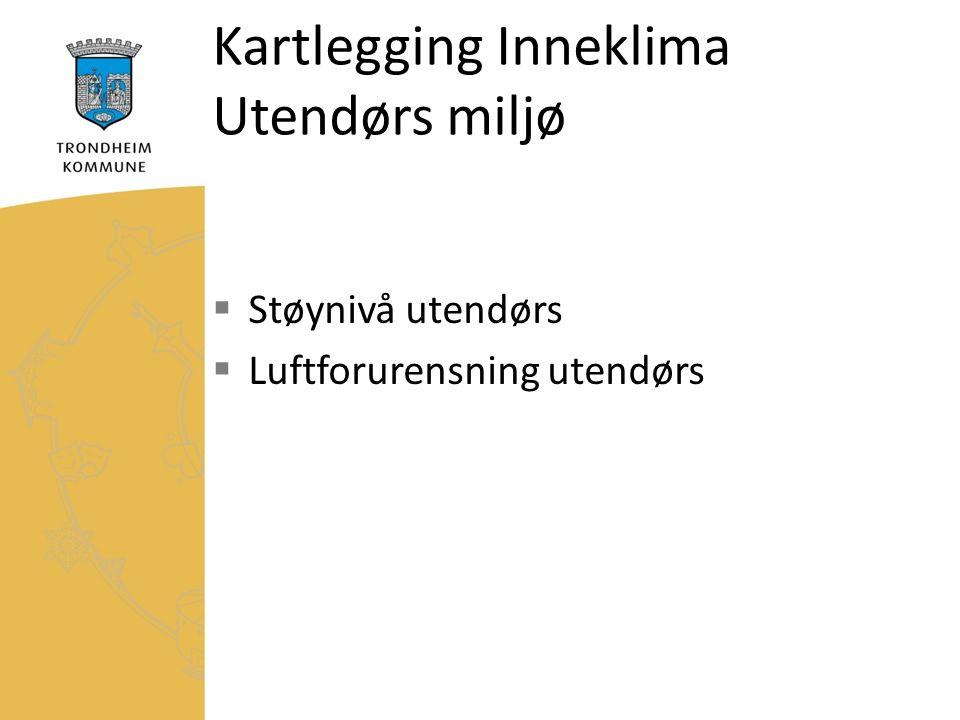 Kartlegging Inneklima Utendørs miljø  Støynivå utendørs  Luftforurensning utendørs