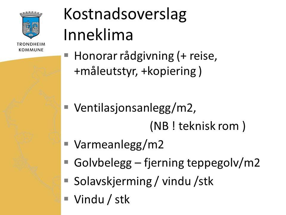 Kostnadsoverslag Inneklima  Honorar rådgivning (+ reise, +måleutstyr, +kopiering )  Ventilasjonsanlegg/m2, (NB .