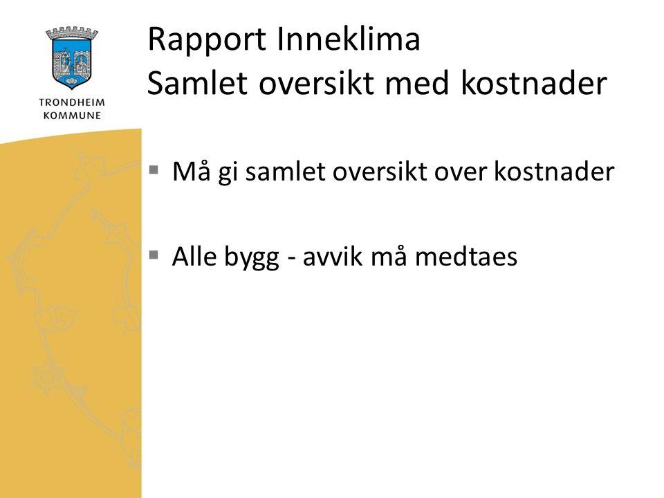 Rapport Inneklima Samlet oversikt med kostnader  Må gi samlet oversikt over kostnader  Alle bygg - avvik må medtaes