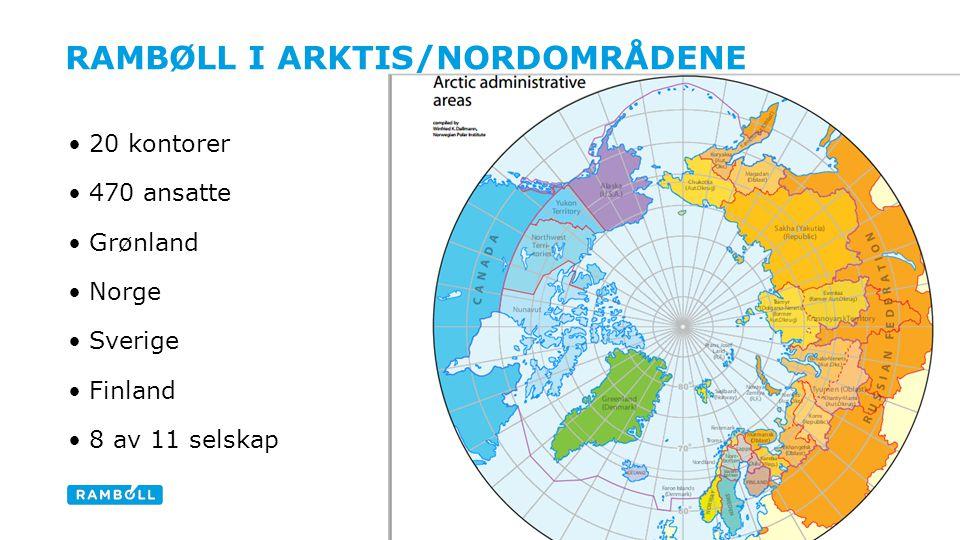RAMBØLL I ARKTIS/NORDOMRÅDENE 20 kontorer 470 ansatte Grønland Norge Sverige Finland 8 av 11 selskap