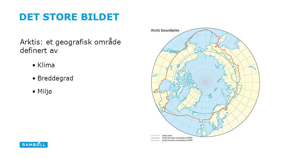 DET STORE BILDET Arktis: et geografisk område definert av Klima Breddegrad Miljø Content slide, two columns with image