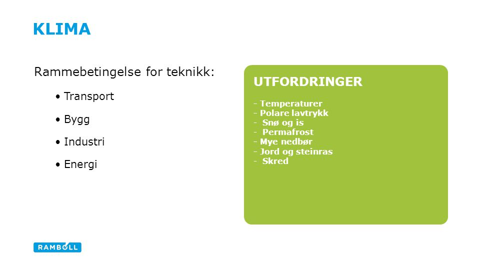 UTFORDRINGER - Temperaturer - Polare lavtrykk -Snø og is -Permafrost - Mye nedbør - Jord og steinras -Skred KLIMA Rammebetingelse for teknikk: Transport Bygg Industri Energi Lime green fact box