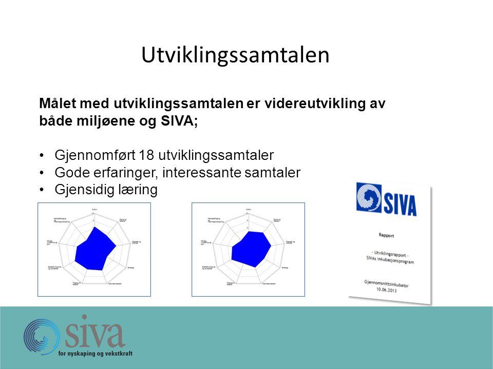 Utviklingssamtalen Målet med utviklingssamtalen er videreutvikling av både miljøene og SIVA; Gjennomført 18 utviklingssamtaler Gode erfaringer, interessante samtaler Gjensidig læring Inkubator xGjennomsnitt
