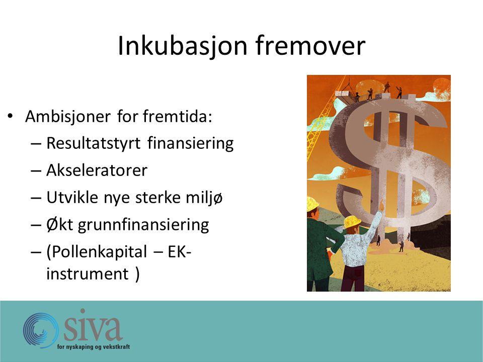 Inkubasjon fremover Ambisjoner for fremtida: – Resultatstyrt finansiering – Akseleratorer – Utvikle nye sterke miljø – Økt grunnfinansiering – (Pollenkapital – EK- instrument )