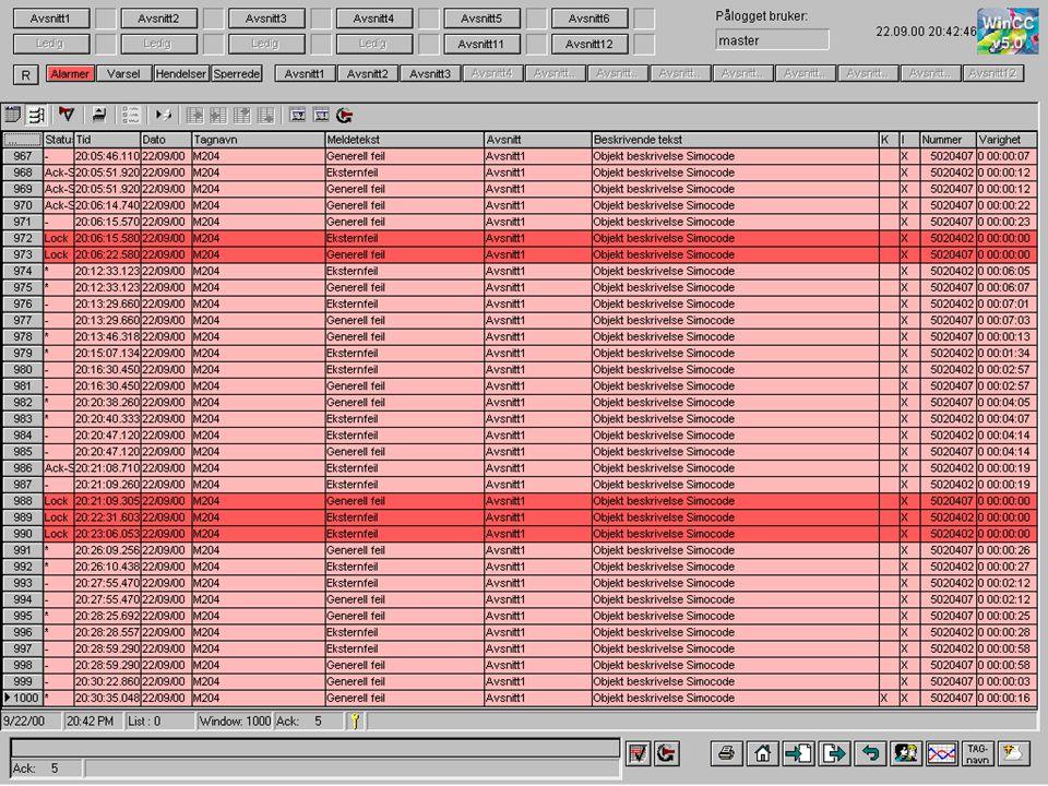 Langtidsarkiv filtrering alarmer