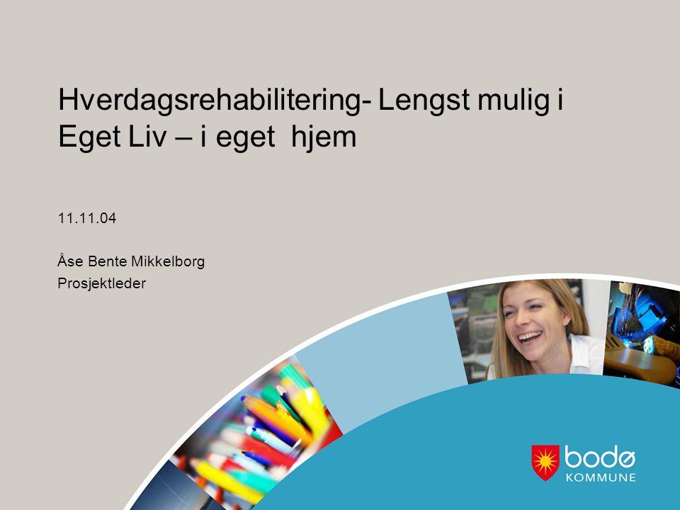 Litt om Bodø kommune: Ca 50 000 innbyggere Hjemmetjenesten – 6 soner( 3 by og 3 distrikt) Lang erfaring med å arbeide med rehabilitering; Rehabiliteringsavdeling(døgnplasser) 15 rom + 1 treningsleilighet.