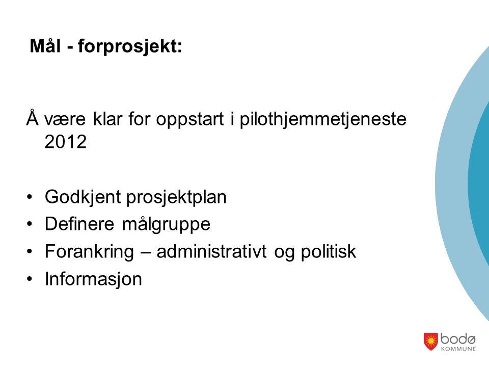 Mål - forprosjekt: Å være klar for oppstart i pilothjemmetjeneste 2012 Godkjent prosjektplan Definere målgruppe Forankring – administrativt og politis