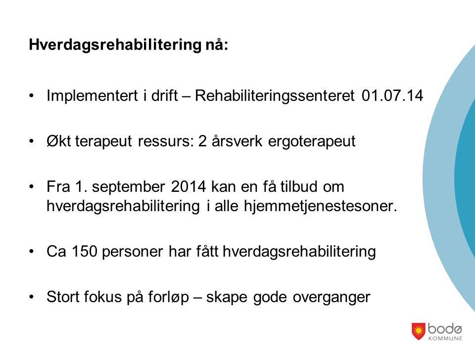 Hverdagsrehabilitering nå: Implementert i drift – Rehabiliteringssenteret 01.07.14 Økt terapeut ressurs: 2 årsverk ergoterapeut Fra 1. september 2014
