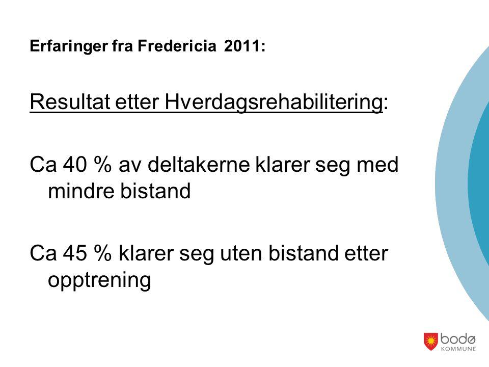 Erfaringer fra Fredericia 2011: Resultat etter Hverdagsrehabilitering: Ca 40 % av deltakerne klarer seg med mindre bistand Ca 45 % klarer seg uten bis