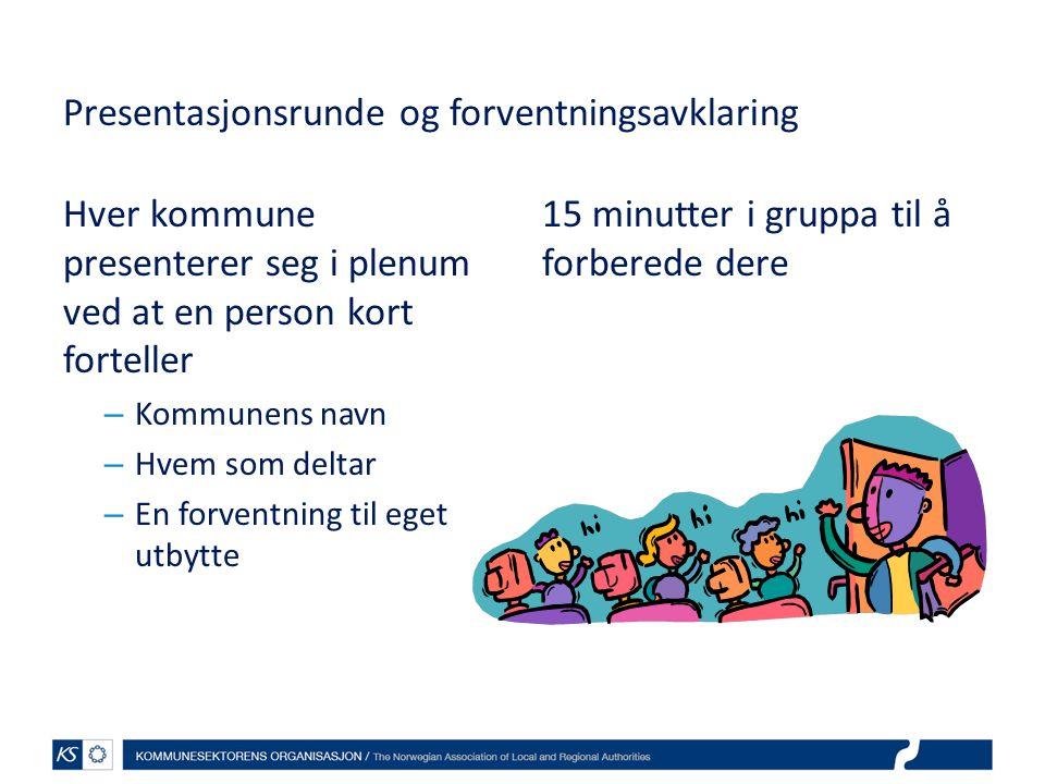 Presentasjonsrunde og forventningsavklaring Hver kommune presenterer seg i plenum ved at en person kort forteller – Kommunens navn – Hvem som deltar –