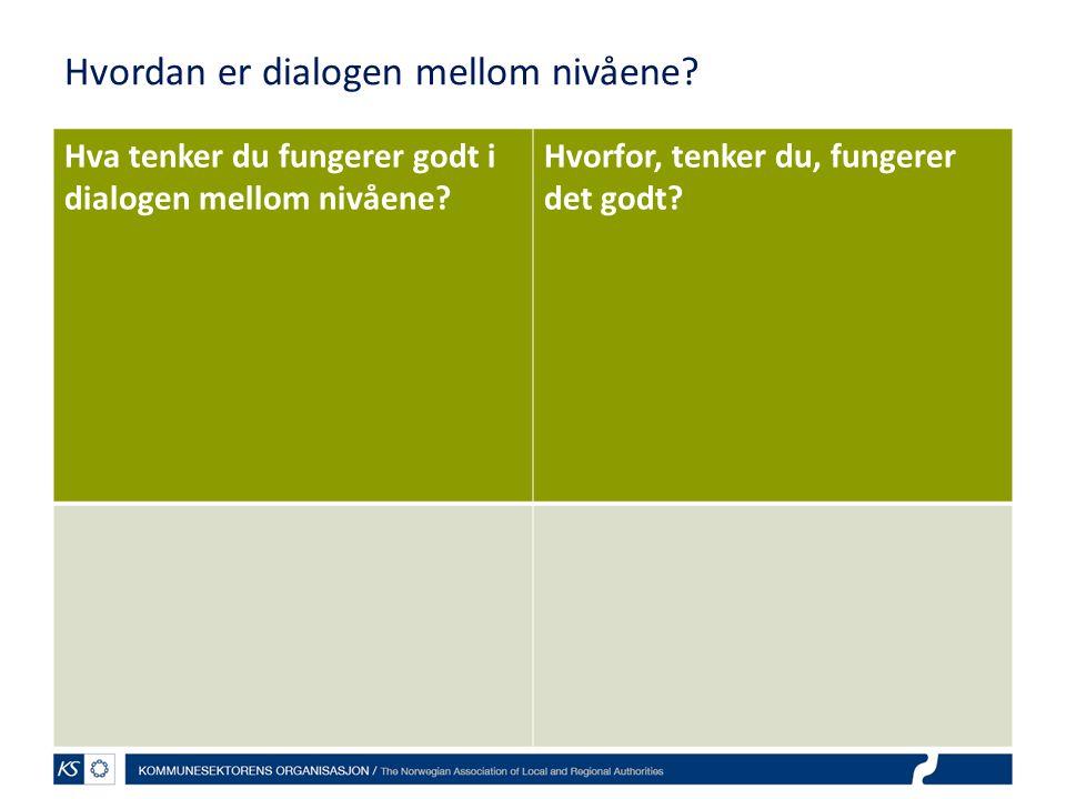 Hvordan er dialogen mellom nivåene? Hva tenker du fungerer godt i dialogen mellom nivåene? Hvorfor, tenker du, fungerer det godt?