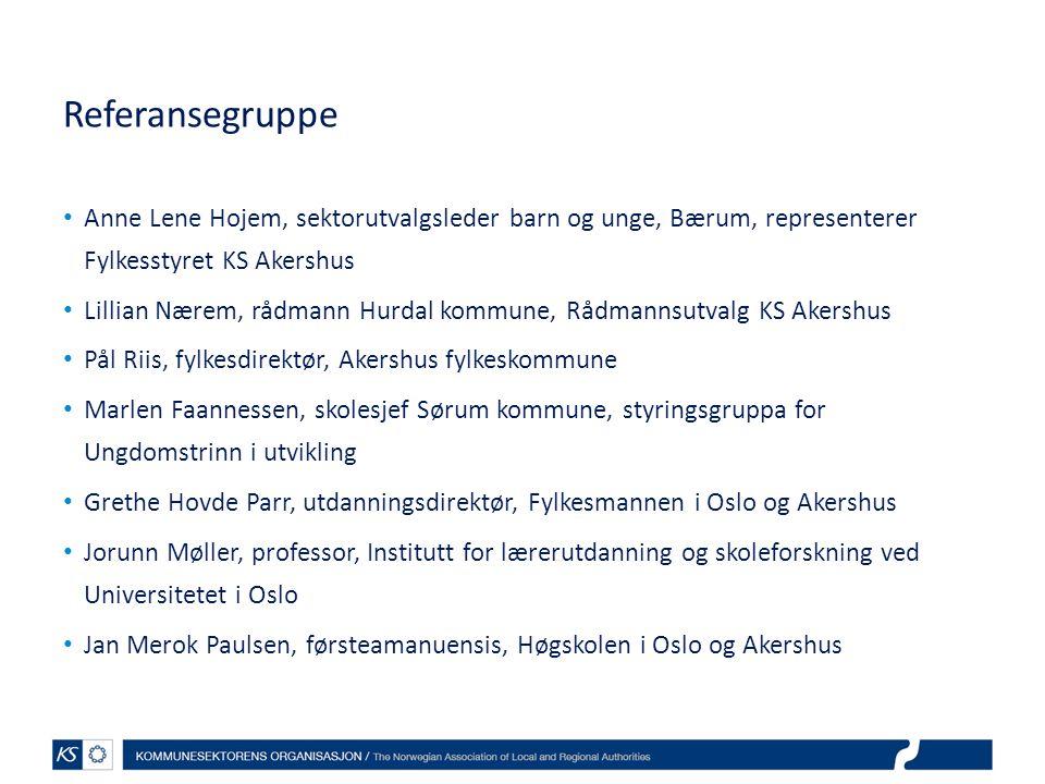 Referansegruppe Anne Lene Hojem, sektorutvalgsleder barn og unge, Bærum, representerer Fylkesstyret KS Akershus Lillian Nærem, rådmann Hurdal kommune,