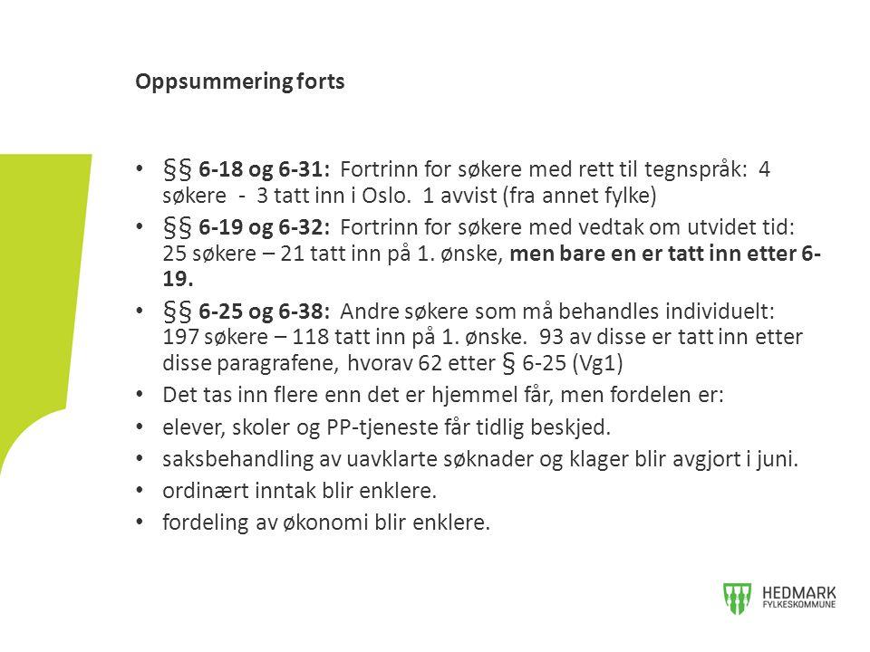 §§ 6-18 og 6-31: Fortrinn for søkere med rett til tegnspråk: 4 søkere - 3 tatt inn i Oslo.