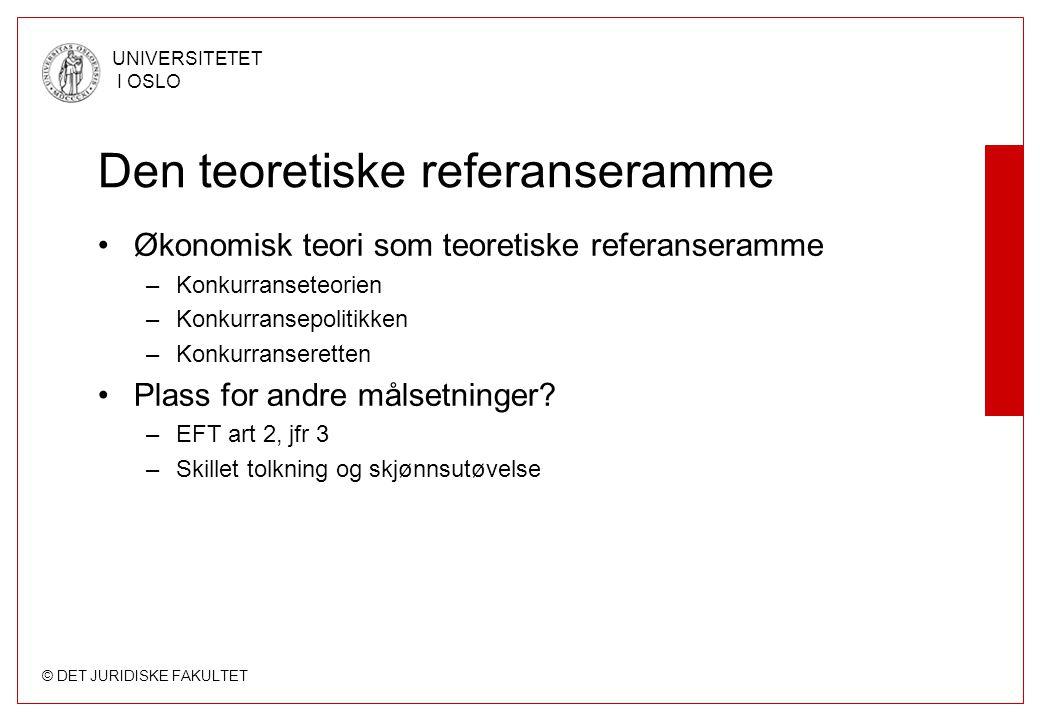 © DET JURIDISKE FAKULTET UNIVERSITETET I OSLO Den teoretiske referanseramme Økonomisk teori som teoretiske referanseramme –Konkurranseteorien –Konkurr