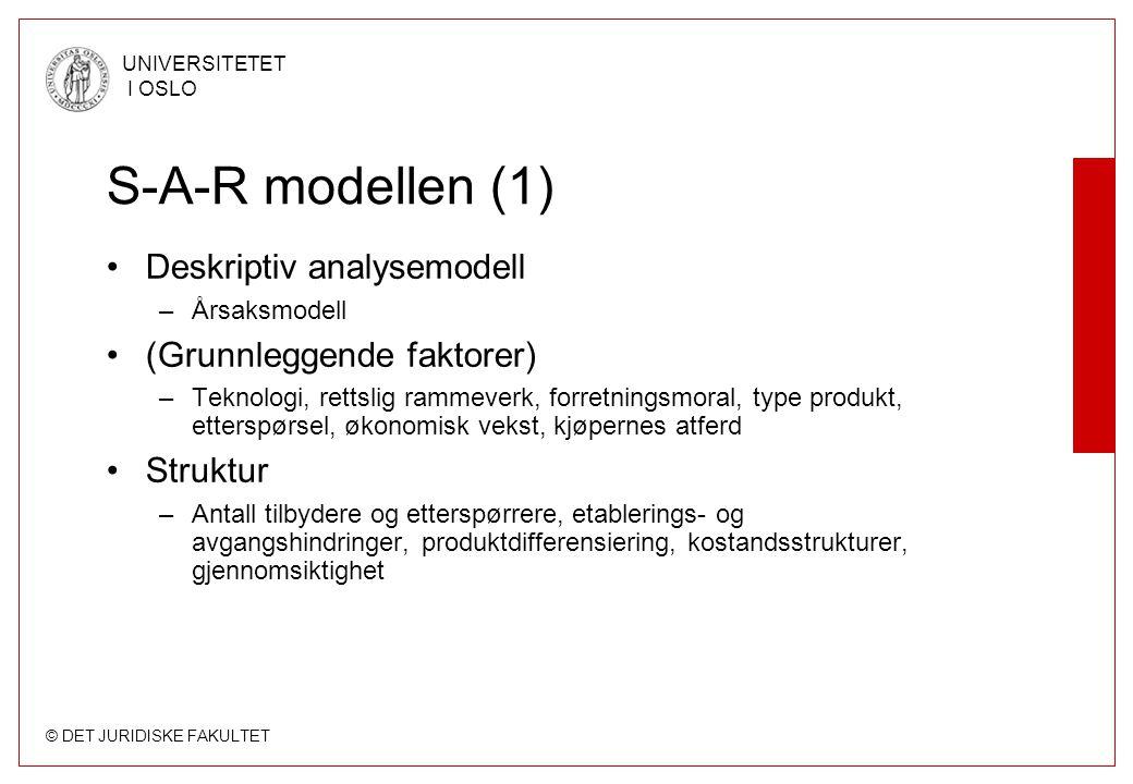 © DET JURIDISKE FAKULTET UNIVERSITETET I OSLO S-A-R modellen (1) Deskriptiv analysemodell –Årsaksmodell (Grunnleggende faktorer) –Teknologi, rettslig