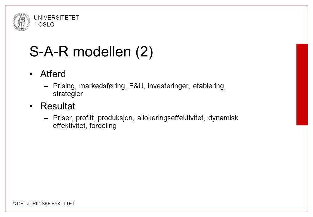 © DET JURIDISKE FAKULTET UNIVERSITETET I OSLO S-A-R modellen (2) Atferd –Prising, markedsføring, F&U, investeringer, etablering, strategier Resultat –