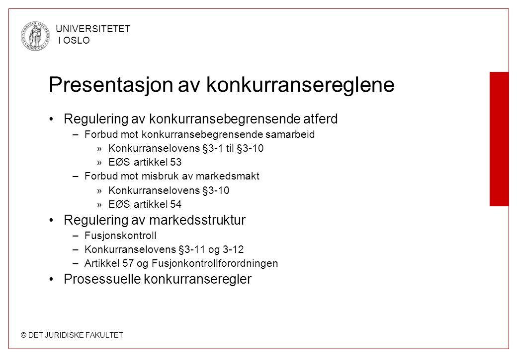 © DET JURIDISKE FAKULTET UNIVERSITETET I OSLO Presentasjon av konkurransereglene Regulering av konkurransebegrensende atferd –Forbud mot konkurransebe
